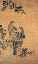 Pine, Plum and Cranes, 1759, by Shen Quan (1682–1760). Hanging scroll, ink and colour on silk. The Palace Museum, Beijing.