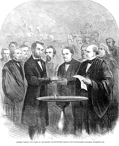 Lincoln taking the oath at his second inauguration.jpg