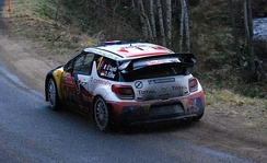 Sébastien Loeb driving a Citroën DS3 WRC on the 2012 rally