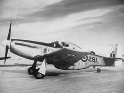 "Lynn Garrison with RCAF 9281, 1956. Subsequently flown during the 1969 Football War. Returned to the U.S. by Jerry Janes and flown as ""Cottonmouth""."