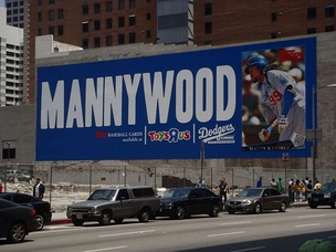 """Mannywood"" banner in Downtown Los Angeles"