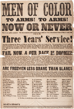 Printed broadside, calling all men of color to arms, 1863