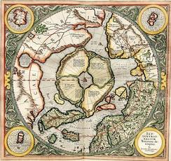 Северный полюс на карте Герарда Меркатора (1595 год)