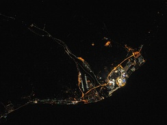 Night view of Sochi during the Olympics, taken by Expedition 38 members from the International Space Station