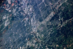 Mid-May 2006 photograph of Oklahoma City taken from the International Space Station (ISS)