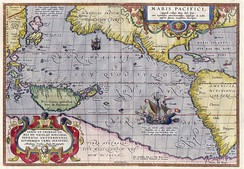 Maris Pacifici by Ortelius (1589). One of the first printed maps to show the Pacific Ocean[6]