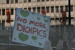 "Sign at the 2018 Women's March in Oslo, reading, ""No More Dickpics"""