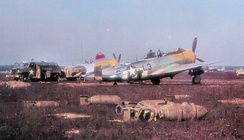 Republic P-47D Thunderbolts of a sister group (512th FS, 406th FG) at Advanced Landing Ground Y-29 in Asch, Belgium in March–April 1945