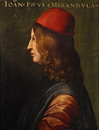 "Pico della Mirandola, writer of the famous Oration on the Dignity of Man, which has been called the ""Manifesto of the Renaissance"".[52]"