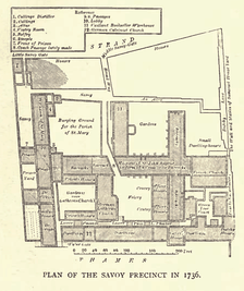 Plan of the Savoy precincts in 1736
