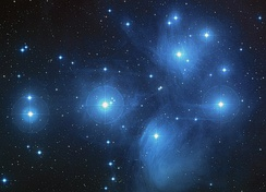 The Pleiades, an open cluster of stars in the constellation of Taurus. These stars share a common motion through space.[114]