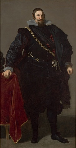 Gaspar de Guzmán, Count of Olivares, painting by Diego Velázquez, 1624. In the covenant of the royal favourites is the Chamberlain's key.