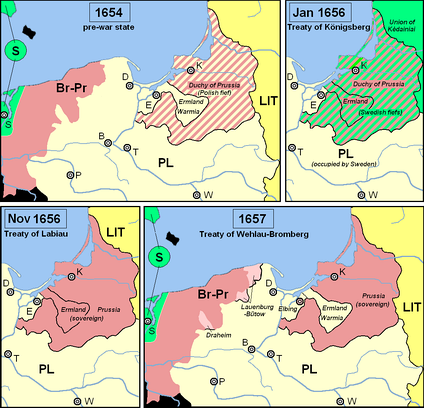 Territorial changes following the Treaty of Wehlau-Bromberg, compared to the pre-war situation (1654) and the treaties of Königsberg (January 1656) and Labiau (November 1656).