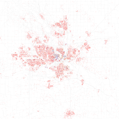 Map of racial distribution in Des Moines, 2010 U.S. Census. Each dot is 25 people: White, Black, Asian, Hispanic or Other (yellow)