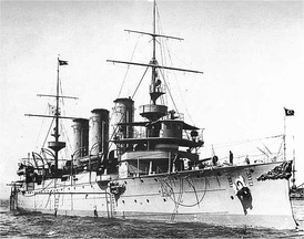 The Ottoman cruiser Hamidiye. Its exploits during its eight-month cruise through the Mediterranean were a major morale booster for the Ottomans.