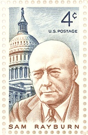 Stamp issued by the United States Post Office Department commemorating Sam Rayburn.