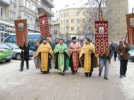 "Theophany Crucession in Bulgaria. The priests are going to throw a wooden cross in the Yantra river. Believers will then jump into the icy waters to ""save"" the cross."