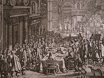 The peace banquet (Fredstaffelet) at Frederiksborg Castle following the signing of the Treaty of Roskilde in 1658.