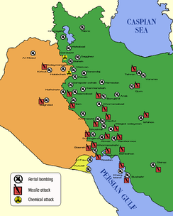 "A map indicating the attacks on civilian areas of Iran, Iraq, and Kuwait targeted during the ""War of the cities""."