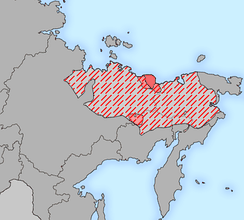 The distribution of Yukaghirs in the 17th century (hatched). Chuvans are marked in pink.