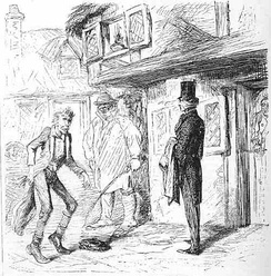 Trabb's boy mocks Pip in the village highstreet outside the post-office by John McLenan