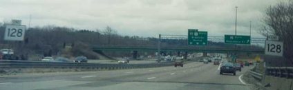 Since 1997, Route 128's southern end has been in Canton, where Interstate 95 exits southwestward on its own roadbed, and Interstate 93 north begins. U.S. Route 1 north continues straight.