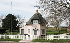 One of two octagonal Dutch cottages from the 17th century which are preserved on the island. The above cottage now functions as a museum.