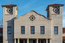 The historic Northern Pacific Railway Depot, built in 1901 using the Mission Revival style. As of July 2017[update], the building is vacant.