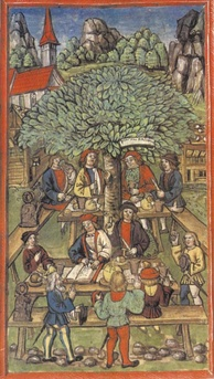 The Amstalden Affair. The picture shows in the back, under the tree, Peter Amstalden in a conspiratorial meeting to rebel against Lucerne with the support of Obwalden.
