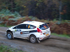 Andreas Mikkelsen, in the Ford Fiesta S2000, on his way to second place on the 2010 Rally Scotland (SS4 Drummond Hill).