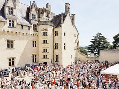 Château de Montsoreau-Museum of Contemporary Art courtyard during the Anjou Vélo Vintage festival.