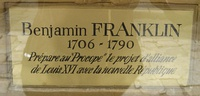 Plaque commemorating Benjamin Franklin's preparation of a Franco-American alliance in the café