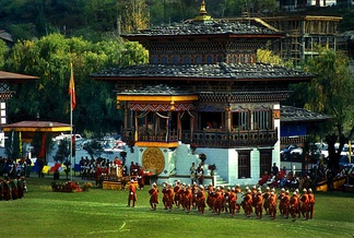 Changlimithang Stadium during a parade.