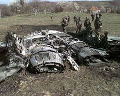 Wreckage of downed Yugoslav MiG-29 in Ugljevik, Bosnia, on March 25, 1999