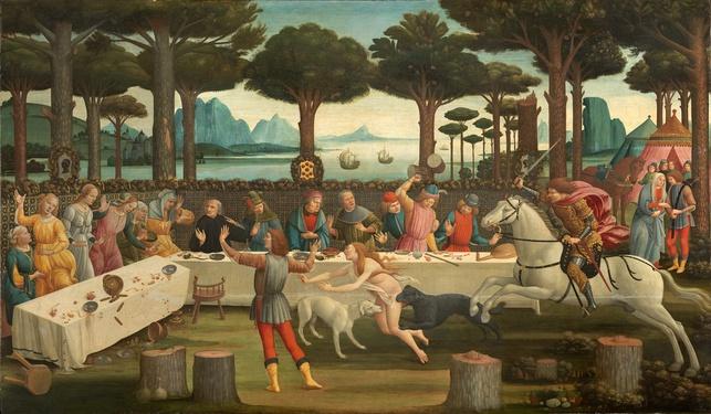 Роща пиний под Равенной на картине Боттичелли (ок. 1483 г.), иллюстрирующей 3-й эпизод новеллы «История Настаджио дельи Онести»