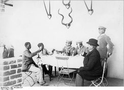 Hendrik Witbooi with the German governor Theodor Leutwein of South-West Africa (toasting to each other), 1896