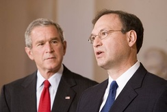 Supreme Court Justice nominee Samuel Alito and President Bush, October 31, 2005