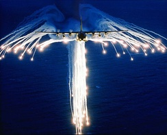 A Hercules deploying flares, sometimes referred to as Angel Flares due to the characteristic pattern.