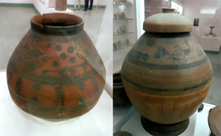 Painted pottery urns from Harappa (Cemetery H period)