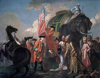 Robert Clive with Mir Jafar after the Battle of Plassey. Mir Jafar's betrayal towards the Nawab Siraj-ud-Daulah of Bengal in Plassey made the battle one of the main factors of British supremacy in the sub-continent.