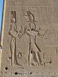 Relief of Ptolemaic Queen Cleopatra VII and Caesarion, Dendera Temple, Egypt.