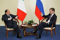 Berlusconi jokes with the Russian President Dmitry Medvedev in 2010