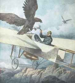 Eugene Gilbert in Bleriot XI attacked by eagle over Pyrenees in 1911 depicted in this painting.