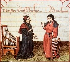 Dufay (left) in conversation with Gilles Binchois