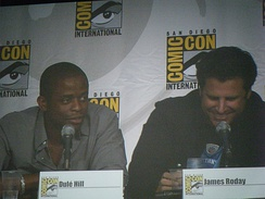 "Dule Hill (left) with James Roday Rodriguez (right) at a ComicCon panel for the TV show ""Psych"" in 2010"
