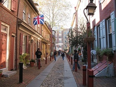"Elfreth's Alley, ""Our nation's oldest residential street"", dating to 1702[78]"