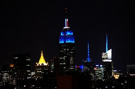 The Empire State Building in New York City was lit blue when CNN called Ohio for Obama, projecting him the winner of the election. Likewise, red would have been used if Romney won.[160]