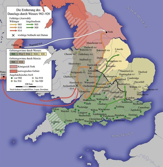 Unification of England and Defeat of the Danelaw in the 10th century under Wessex.