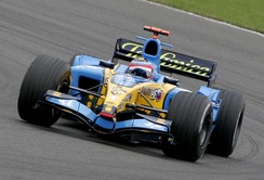 Fernando Alonso driving for Renault at the 2005 British Grand Prix.