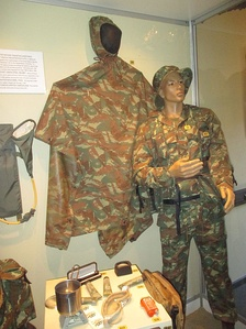 32 Battalion uniform patterned after those issued to FAPLA. Members of this unit often wore ubiquitous uniforms to avoid scrutiny while operating in Angola[94]